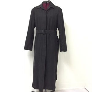 12 LONDON FOG Classic Black Belted Trench Raincoat